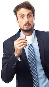 นักธุรกิจมีสายจากกาแฟมากเกินไป