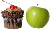 คัพเค้กและแอปเปิ้ล