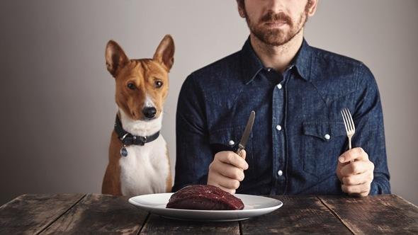 ผู้ชายกับสุนัขและเนื้อ
