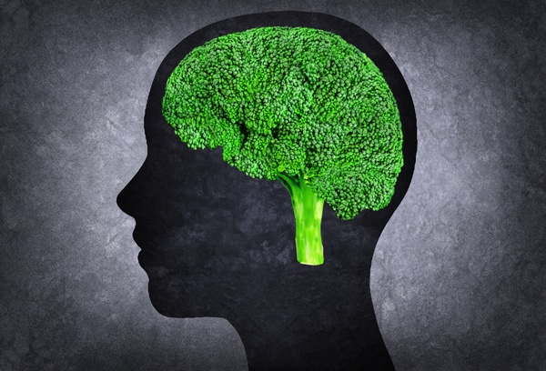 Silhouette of Head With Broccoli as Brain