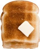 ขนมปังปิ้งและเนยสองชิ้น