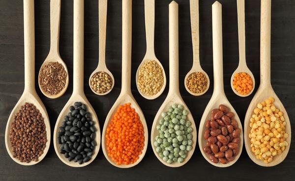 พืชตระกูลถั่วถั่วและเมล็ดพืชหลากหลายชนิด