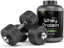เวย์โปรตีนและดัมเบลล์