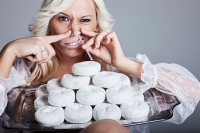 Woman Snorting Donuts