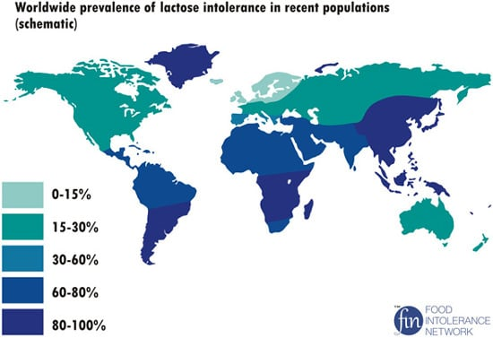 ความชุกทั่วโลกของการแพ้แลคโตส